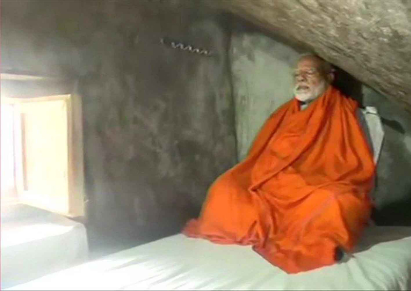 Prime Minister Narendra Modi doing meditation at a cave at Kedarnath on Saturday. (UNI)