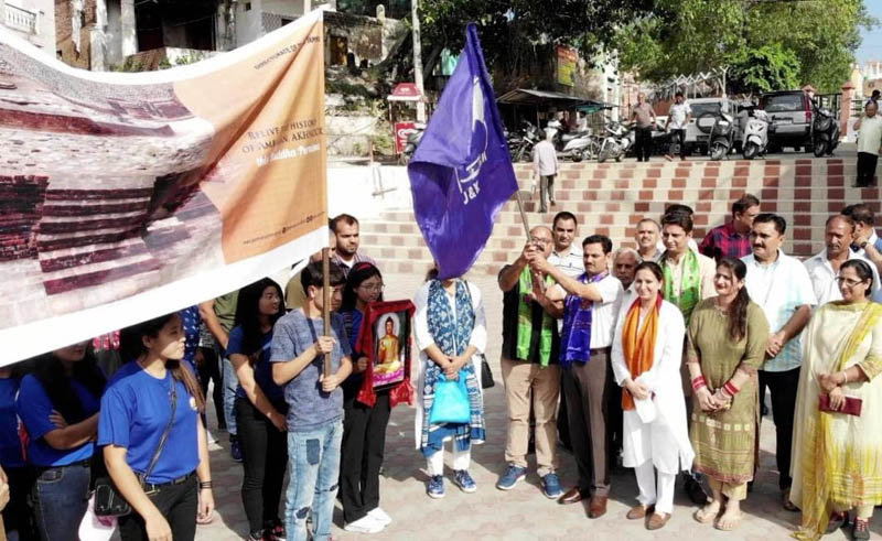 Officers of Tourism Department flagging of heritage walk to Ambaran Monastic complex at Akhnoor on Saturday.