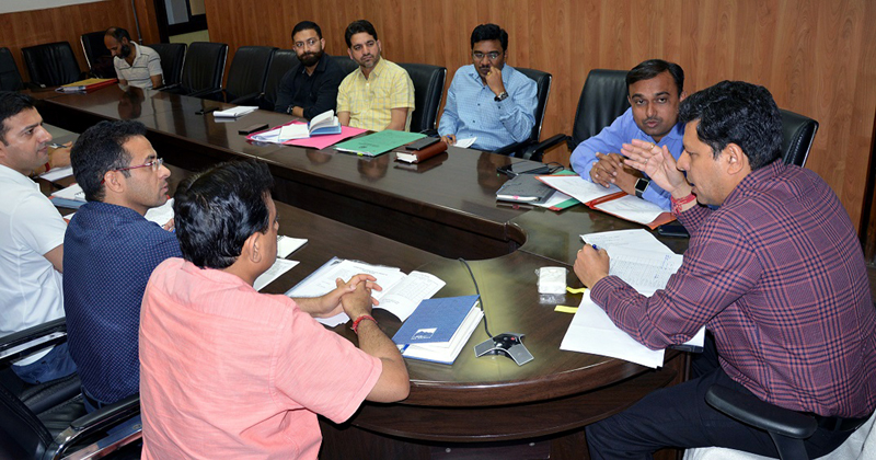 Divisional Commissioner Jammu Sanjeev Verma chairing a meeting on Saturday.