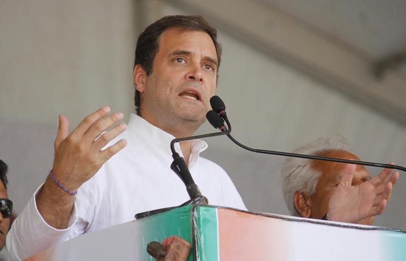 Congress President Rahul Gandhi at an election campaign rally at Shajapur in Madhya Pradesh on Saturday. (UNI)