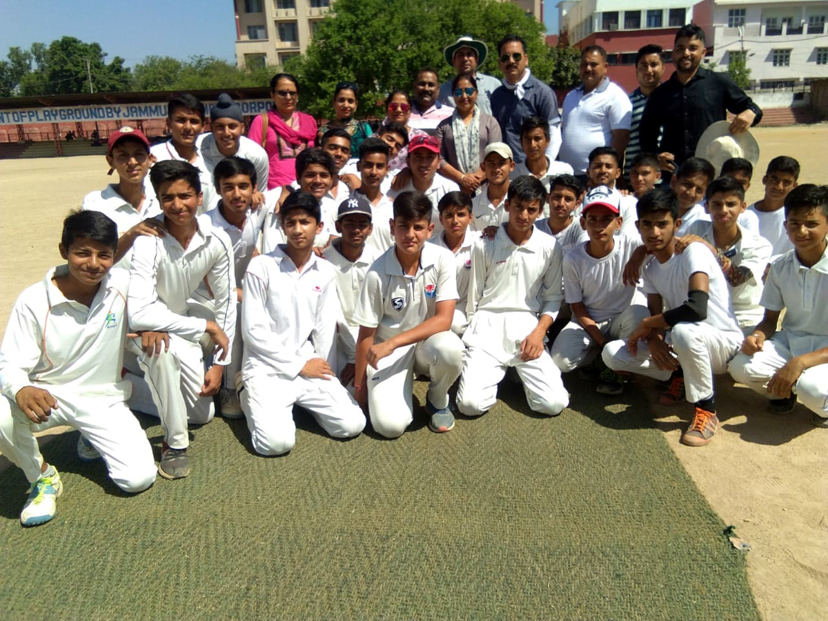 Winners posing along with officials at Mini Stadium, Parade in Jammu on Tuesday.
