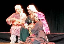 A scene from the play 'Zui Gabbar' staged at Abhinav Theatre Jammu on Sunday.