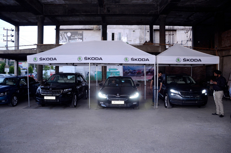Skoda cars on display during a function at Jammu on Tuesday.