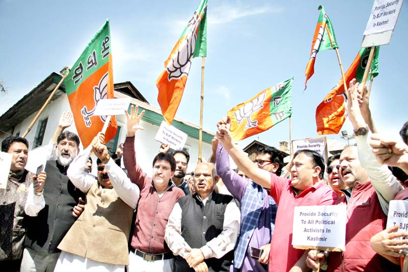 BJP leaders protesting in Srinagar on Tuesday. -Excelsior/Shakeel