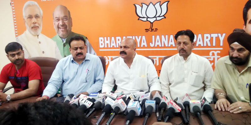 BJP leaders at a press conference in Jammu on Tuesday. —Excelsior/Rakesh