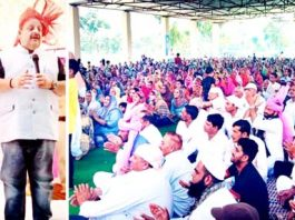 NC Provincial President Devender Singh Rana addressing religious congregation on Sunday.