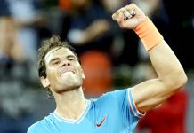 Rafael Nadal celebrating his victory in Madrid Open on Saturday.