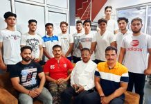 Members of J&K Powerlifting team posing for a group photograph after their selection.
