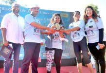 Winners of women fun run 'Mirchi Gang of Girls' being felicitated in Jammu on Sunday.
