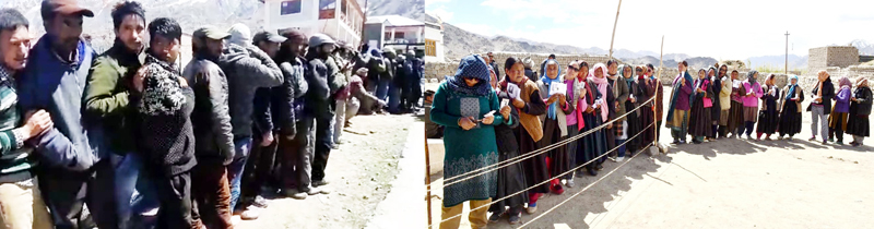 Long queues of voters in Kargil (left) and Leh (right) on Monday. -Excelsior pics by Basharat Ladakhi & Morup Stanzin