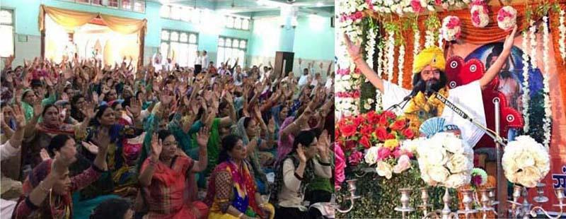Shri Shri 1008 Swami Hari Chataniya Puri Ji Maharaj delivering sermons at a 'Dharam Sammelan' in Jammu.