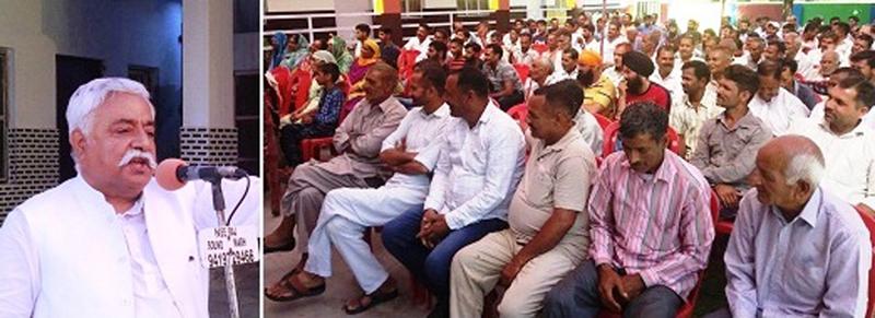 NC leader Ajay Sadhotra addressing a public meeting at Raipur on Monday.
