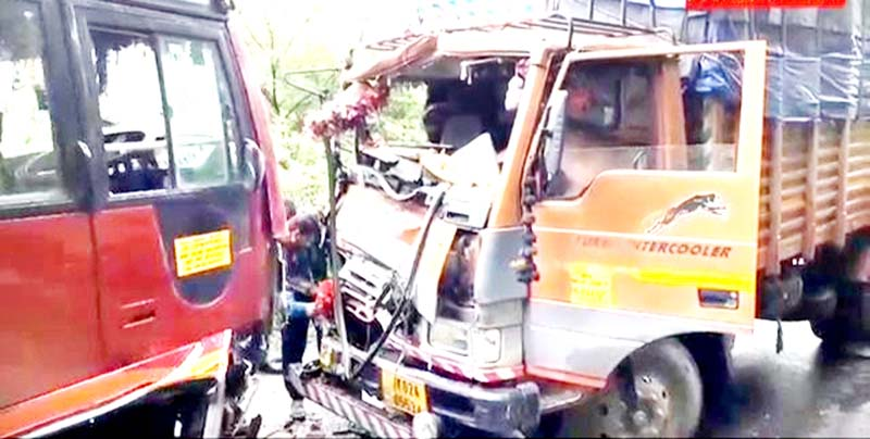 A view of bus-truck collision near Khanetar in Poonch on Friday. -Excelsior/Gurjeet