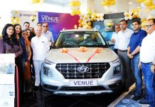 Officials of HMIL and AM Hyundai launching 'Hyundai Venue'.