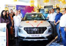 Officials of HMIL and AM Hyundai launching 'Hyundai Venue'.