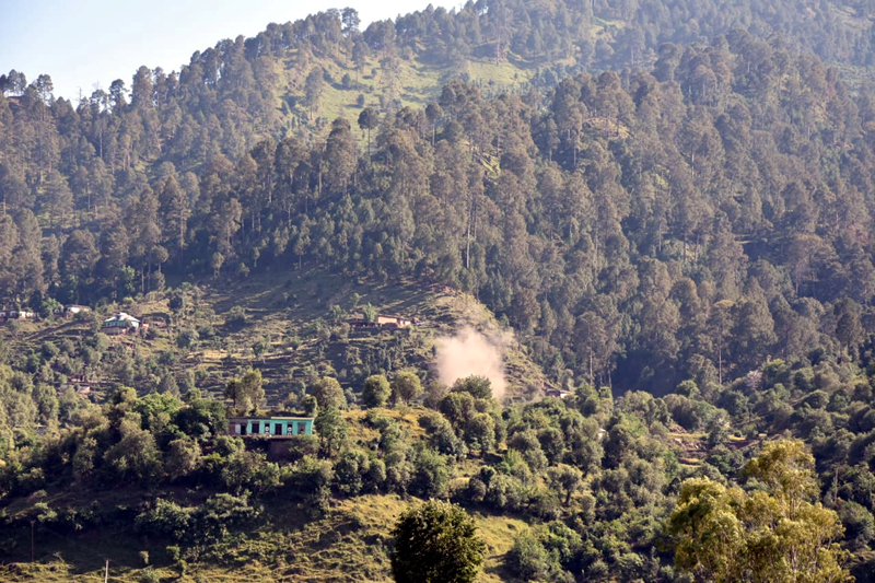 A mortar shell explodes on LoC in Poonch district on Monday. -Excelsior/Rahi Kapoor