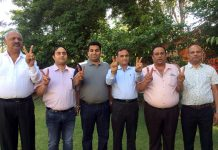 Newly elected BBIA office bearers led by president, Lalit Mahajan showing victory signs.