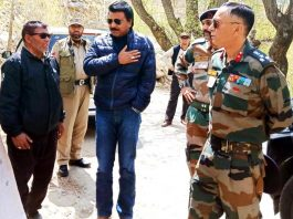 Chairman-cum-CEC LAHDC Kargil Feroz Khan along with senior official inspecting works in Kargil on Friday.