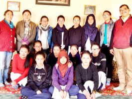 Participants of a writing workshop posing for a group photograph at Leh on Friday.
