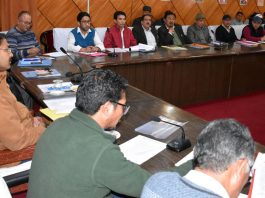 Divisional Commissioner Ladakh, Saugat Biswas chairing a meeting on Friday.