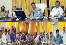 Divisional Commissioner Jammu Sanjeev Verma chairing a meeting at Ramban on Friday.