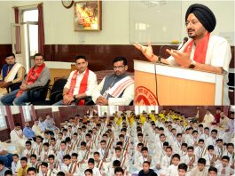 CEO, SMVDSB, Simrandeep Singh addressing students at SMVD Gurukul.