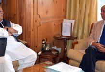 Governor Satya Pal Malik meeting Chief Vigilance Commissioner, P L Gupta on Friday.
