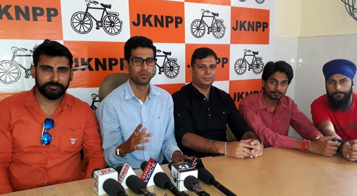 Leaders of Young Panthers addressing a press conference at Jammu on Monday.