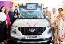 Officials of AM Hyundai launching 'Hyundai Venue' at Jammu on Wednesday.