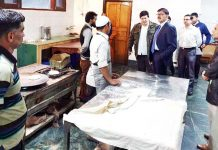 Advisor Vijay Kumar inspecting TRC Kitchen on Friday.