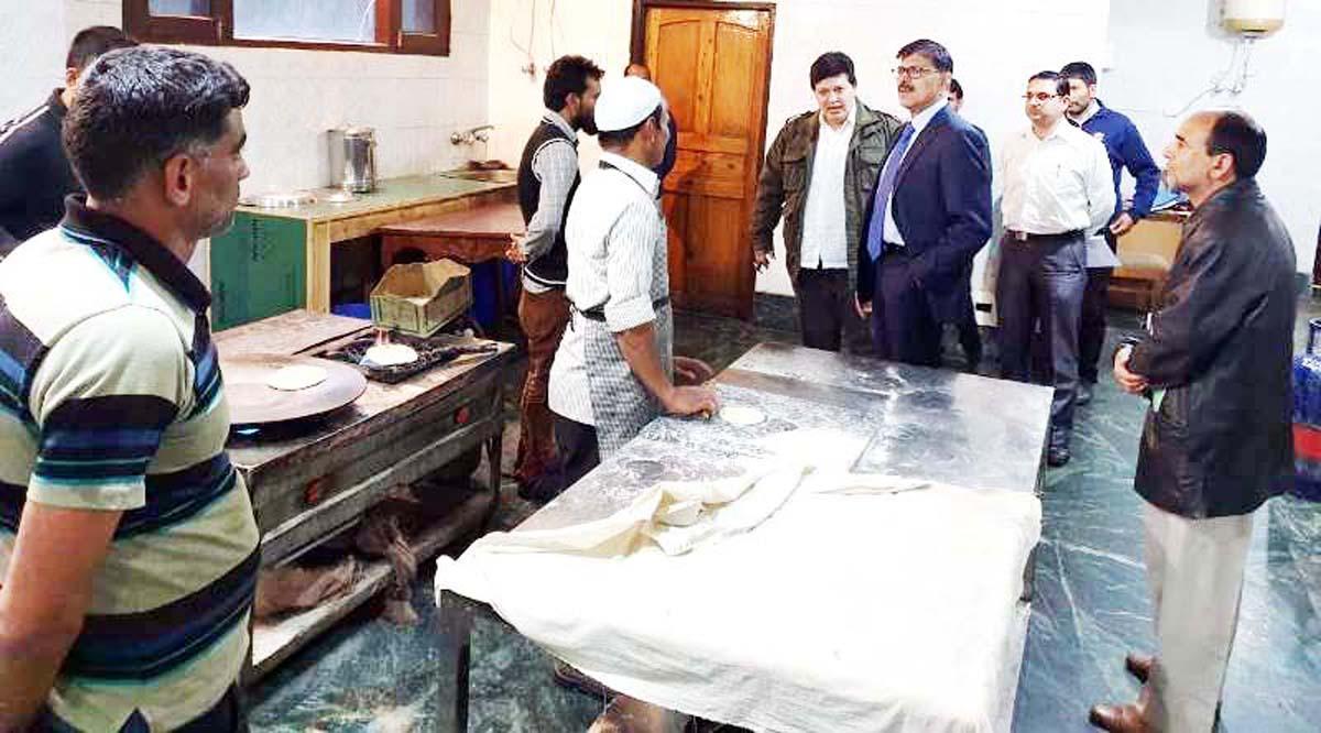 Advisor Vijay Kumar inspecting TRC Kitchen on Friday.