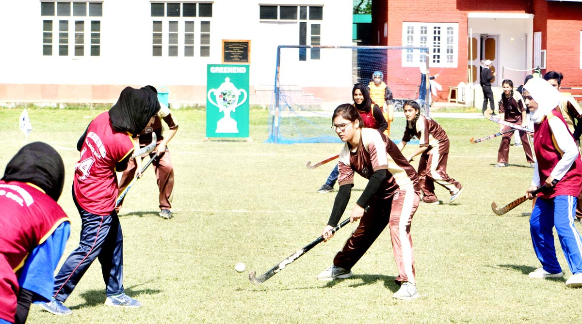 Players in action during match at Srinagar. -Excelsior/Shakeel