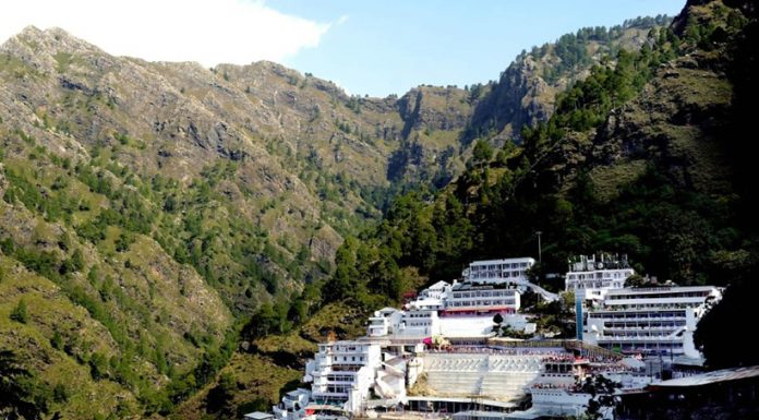 A view of Mata Vaishno Devi Ji Bhawan located between Trikuta Hills. (UNI)