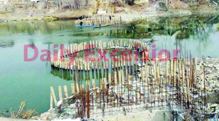 A view of an incomplete bridge at North Kashmir's Sumbal area. —Excelsior/Abid Nabi