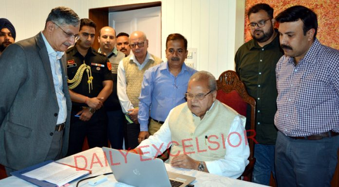 Governor Satya Pal Malik launching online registration of yatris for Shri Amarnathji Yatra in Srinagar on Wednesday.