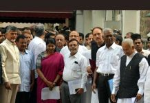 Opposition leaders after a meeting with EC in New Delhi on Tuesday.