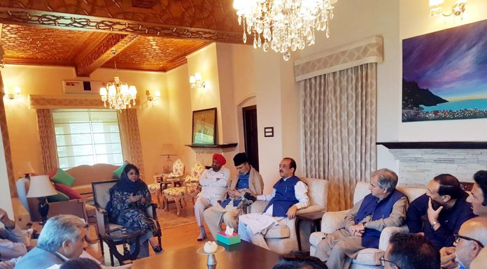 PDP president Mehbooba Mufti chairing PAC meeting in Srinagar on Tuesday.