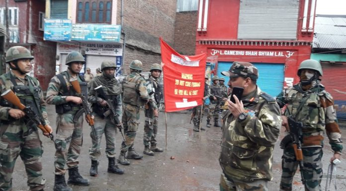 Troops deployed in Bhaderwah town on Thursday. —Excelsior/Tilak Raj