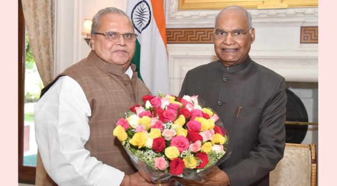Governor Satya Pal Malik calling on President Ram Nath Kovind at Rashtrapati Bhavan in New Delhi on Saturday.