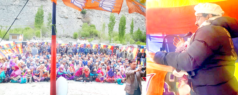 BJP national general secretary, Ram Madhav addressing an election rally at Turtuk on Thursday.