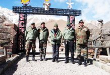 Secretary Defence Finance in the Ministry of Defence (MoD) Gargi Kaul during her visit to Fire & Fury Corps in the Ladakh Sector on Saturday. (UNI).