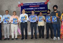 Dignitaries releasing College Magazine 'ASPIRE' during Annual Day celebration at Polytechnic Jammu.