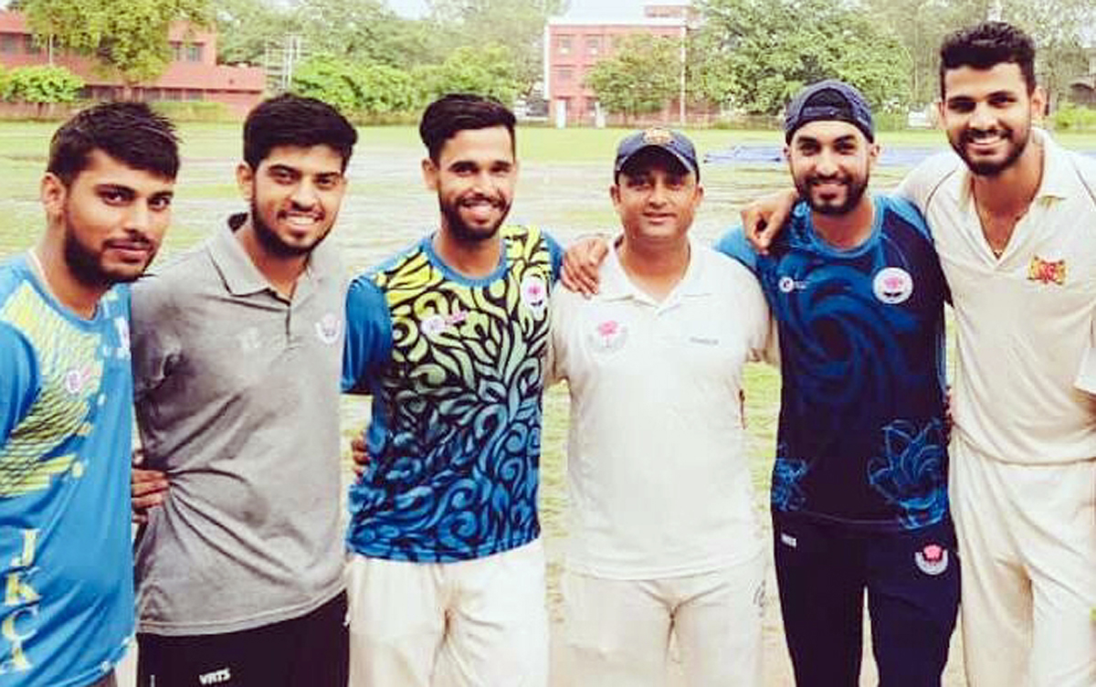 Performers of KCCC posing for a group photograph after scripting win over NCC at GGM Science College Hostel ground in Jammu.