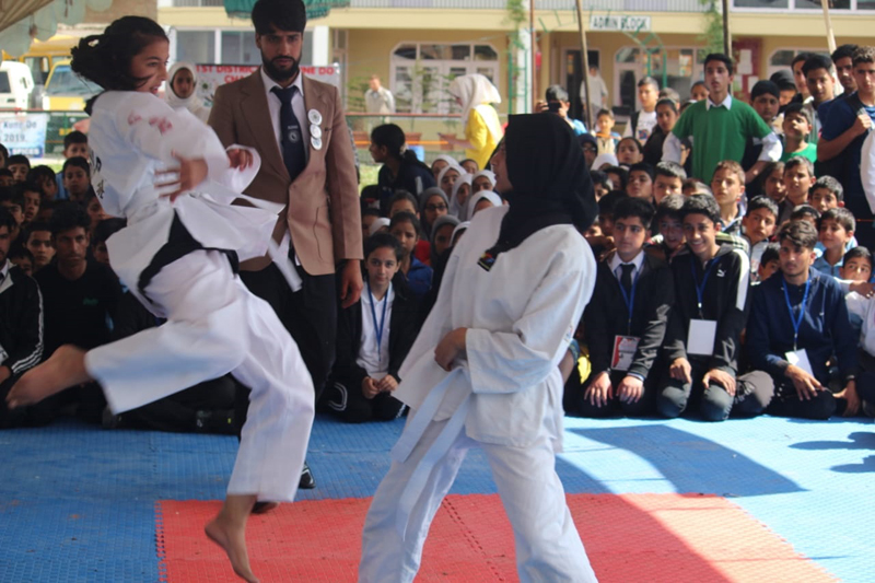 Players in action during Jeet-Kune-Do Championship in Anantnag.