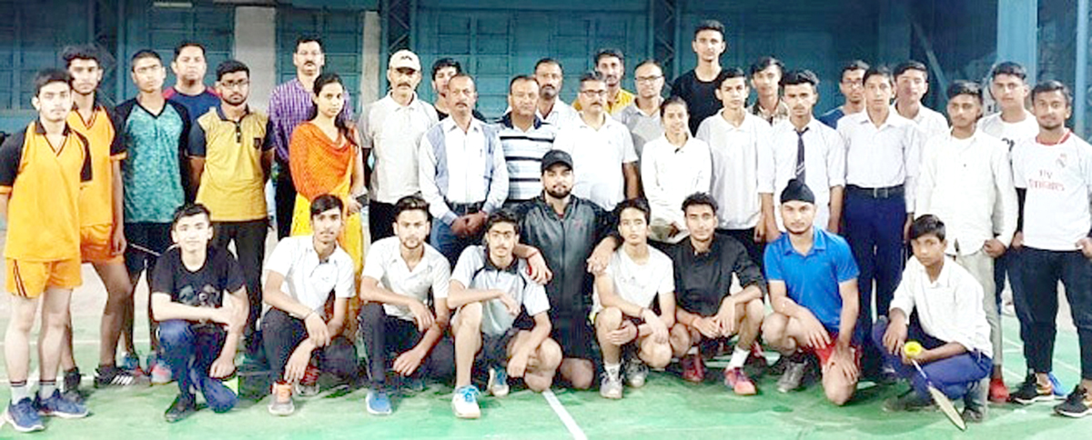 Players posing along with dignitaries and officials at Subash Stadium in Udhampur.