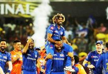Players of Mumbai Indians celebrating victory while lifting IPL 2019 title at Hyderabad on Sunday.