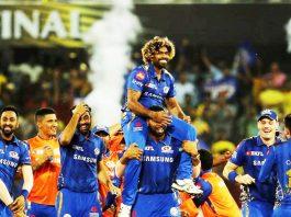 Players of Mumbai Indians celebrating victory while lifting IPL 2019 title at Hyderabad on Sunday.