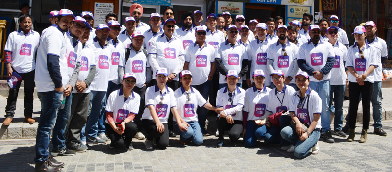 Participants of Bike Rally to promote YONO App posing for a group photograph in Leh. -Excelsior/Morup Stanzin