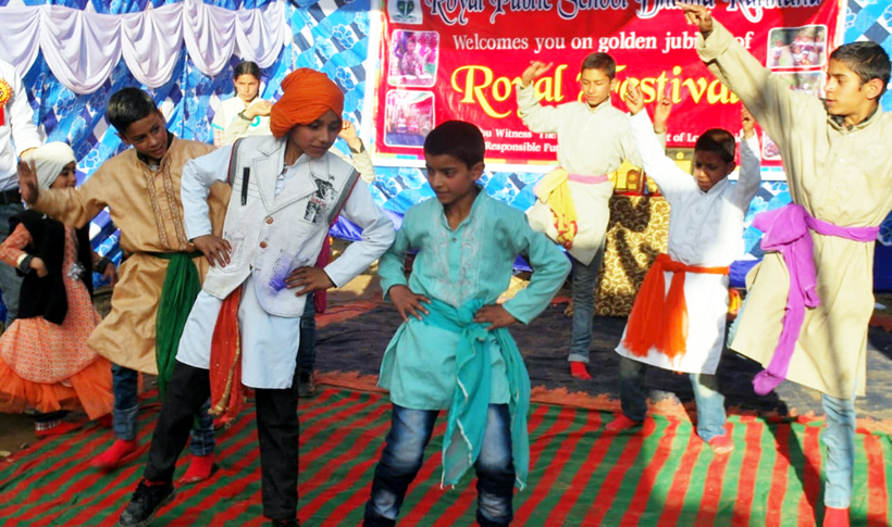 Students performing dance while celebrating Annual Function at Royal Public School Dhama Kalihand in Doda.