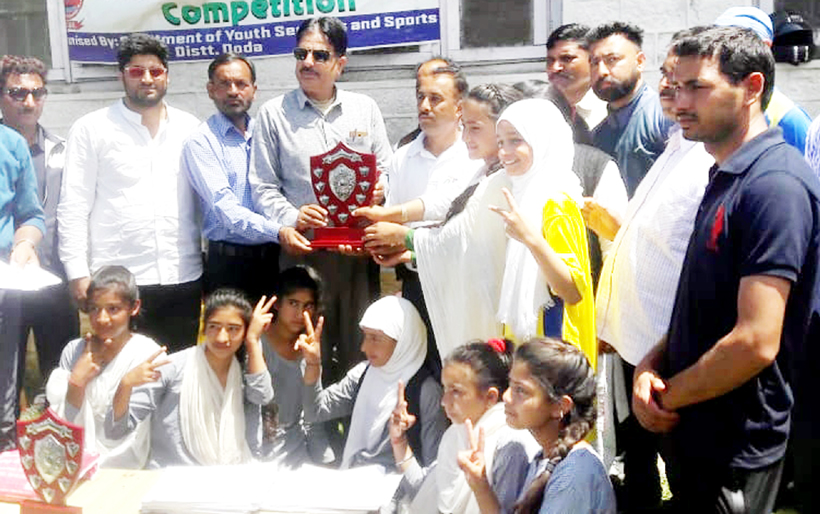 Winners being honoured by the chief guest and other dignitaries at Bhaderwah on Monday.